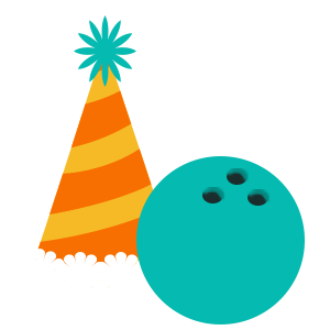 party hat & bowling ball icon